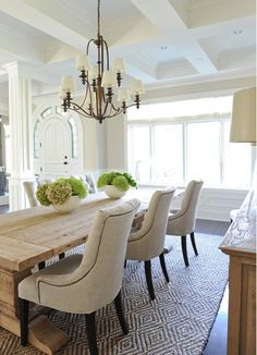 I absolutely love large rectangle farm tables in the home. It sets the mood for cozy dinners! On the hunt, I foun...