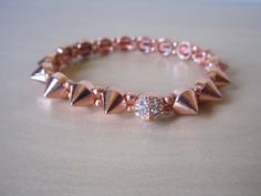ARM CANDY Rose Gold Spike Rhinestone Bracelet Set by BNychele