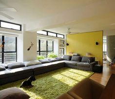 decorating ideas for long living rooms with wooden floor and fur rugs hairy also grey color