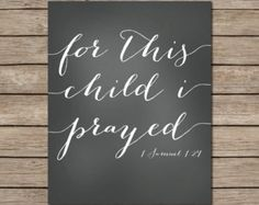 For This Child I Prayed Printable - INSTANT DOWNLOAD Printable - bible verse printable - chalkboard printable - nursery chalkboard printable