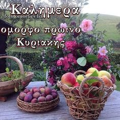 Wicker Baskets, Good Morning, Floral Wreath, Buen Dia, Floral Crown, Bonjour, Good Morning Wishes, Flower Crowns, Woven Baskets