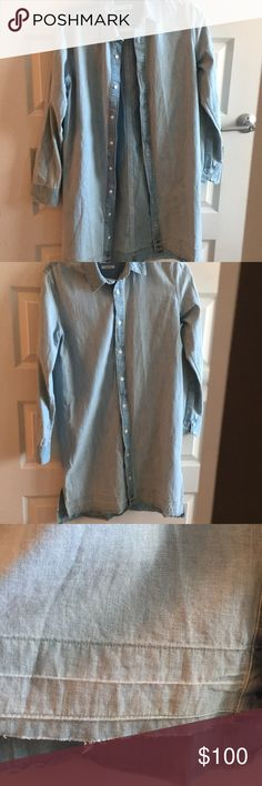 "Rag and Bone/Jean ""Beau"" Denim Shirtdress Light wash chambray shirt-dress, unfinished hem- new without tags. Selling because I already already purchased this and then my mom sent me this one! Great minds think alike but I have no use for two! Open to offers rag & bone Dresses Long Sleeve"