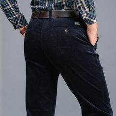 Mens Casual corduroy Classic regular fit business casual pants