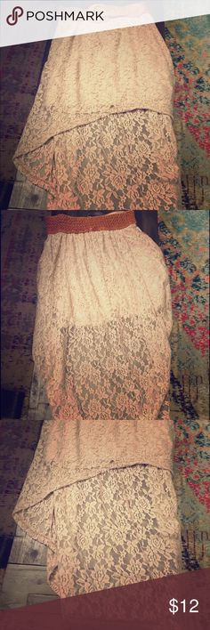 Rue 21 high low lace skirt Adorable taupe lace high low skirt with attached belt. New, with tags. Rue21 Skirts High Low