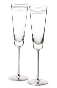 I love these ~ Kate Spade new york 'darling point' toasting flutes with Mr. / Mrs. on them.