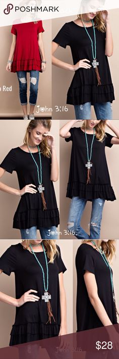 Tunic tops Great quality rayon short sleeve tops with double ruffle hem. 95% rayon 5% spandex - bust 34/ 36/ 38 - has good stretch . price is firm ✔️ Boutique Tops Tunics