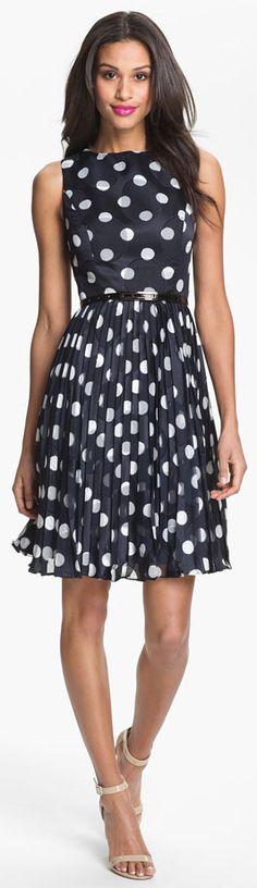 www.iwantobefitnow.tumblr.com Adrianna Papell dress  #polkadots #springstyle.