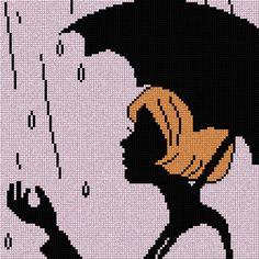 LADY with umbrella x-stitch