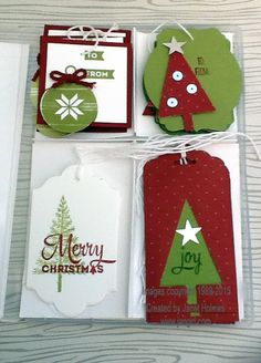 jan girl stampin up lots of joy merry moments christmas in july tags wine topper and gift card holder