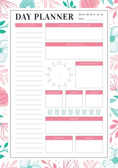 Undated Planner with Daily Checklist Daily Planner Pdf, To Do Planner, Study Planner, Goals Planner, To Do Lists Printable, Printable Planner, Bullet Journal Pdf, Day Planner Template, Schedule Templates