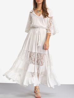 White Lace V Neck Tie Waist Maxi Dress