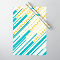 Dashes & Dots - Turquoise and Yellow Wrapping Paper by laec | Society6 Dash And Dot, Double Stick Tape, Wraps, Dots, Gift Wrapping, Turquoise, Yellow, Paper, Stitches