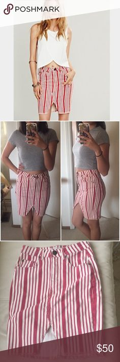 """BRAND NEW free people high waisted denim skirt *labeled 24"""" but I am only able to list a skirt as its equivalent, 00 or XS* American pie striped pencil skirt with a sexy cut in the front. High waisted and so flattering on the toosh. Never worn, comes in original packaging. Unsure if it's a minor sewing flaw but the front cut is pictured up close. Tags: urban outfitters brandy Melville nastygal asos topshop Zara vintage coachella music festival Abercrombie LF revolve for love and lemons…"""