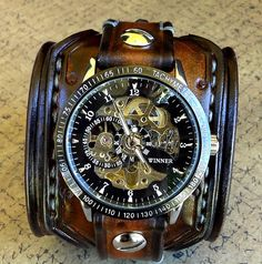 Discover the best steampunk watches that are available for both men and women. we have showcased all of the coolest steampunk watches you can buy! Bracelet Bras, Bracelet Cuir, Bracelet Watch, Bracelets, Cool Watches, Watches For Men, Wrist Watches, Pocket Watches, Datejust Rolex