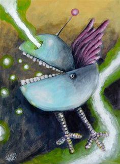 "Daily Paintworks - ""Epic Bluebird"" - Original Fine Art for Sale - © Ruslan Axenov Color Calibration, Whimsical Art, Acrylic Painting Canvas, Fine Art Gallery, Blue Bird, Art For Sale, Pet Birds, Cyberpunk, The Originals"