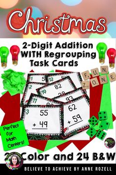 Your students will love practicing two-digit addition WITH regrouping with this fun Christmas theme set of task cards! Great for SCOOT, small group, tutoring, sub days, math stations or early finishers!Here's what is included:✔24 task cards in color✔same 24 task cards in ink saving black and white✔recording sheet✔answer key✔I've added a 4 x 6 cover to use for a storage box cover if you'd like.