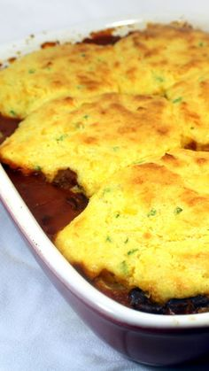 Inspired By eRecipeCards: Chili Cornbread Casserole (Freezable) - 52 Casseroles (This one starts in a Crock Pot)