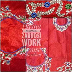Various kind of hand embroidered blouse pieces on raw silk, brocade, velvet etc. Are available. Intricate hand embroidery like #dabkawork #gotapattiwork #beadswork #reshamwork #mirrorwork done by fine craftsman of us... Each piece contains front,back & sleeves with full work. If anyone want customized designs please contact us.