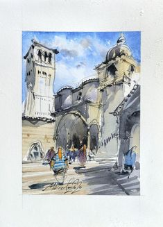 Assisi ink and watercolor on paper 2020 Small original | Etsy He's Beautiful, Beautiful Artwork, Cool Artwork, Ink Painting, Watercolor Paintings, Paper Dimensions, Urban Sketching, Watercolor And Ink, My Works