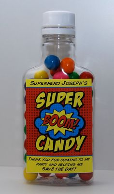 Superhero Party Candy Bottle Favors plastic by BsquaredDesign, $22.50