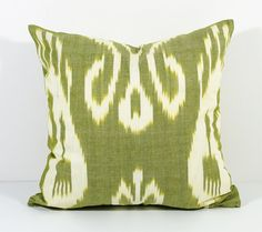 15x15 olive green white cotton ikat pillow cover cotton by SilkWay