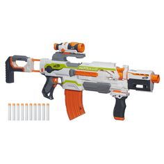 Build your own blaster with the motorized Nerf Modulus ECS-10 blaster  Flexible blaster has more than 30 combinations  Features targeting scope, drop grip and dual-rail barrel  Blaster can launch the included darts at targets up to 90 feet away  Includes blaster, targeting scope, drop grip, dual-rail barrel, storage stock, banana clip, 10 darts, and instructions.