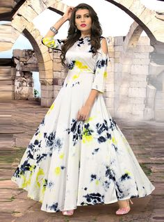 Off White Satin Silk Printed Readymade Gown 133245