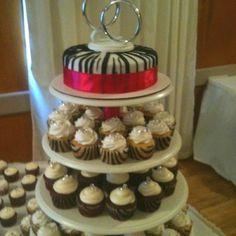 Pink and zebra wedding cake