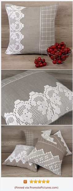 Gray white filet crochet embroidered throw pillow, shabby chic euro pillow sham, grey lace scallop edge plaid cushion 16 x 16 (40 x 40 cm) https://www.etsy.com/AdorningPillows/listing/386968802/gray-white-filet-crochet-embroidered?ref=shop_home_active_19  (Pinned using https://PromotePictures.com)
