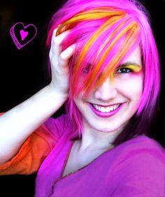 LOVE the way the bright orange pops in contrast to the hot pink and deep purple hair. Deep Purple Hair, Pink And Orange Hair, Purple Streaks, Pink Hair, Hello Hair, Hair Addiction, Alternative Hair, Rainbow Hair, Hair Art