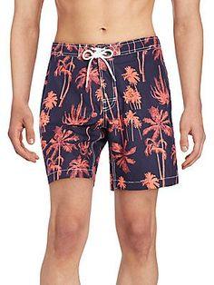 Trunks Palm Tree-Print Swim Shorts - Marine - Cayenne - Size