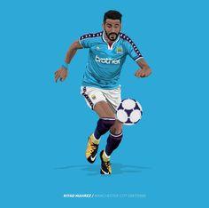 Riyad Mahrez of Man City wallpaper. Manchester City Wallpaper, Football Gif, Football Stuff, Classic Football Shirts, Manchester United Football, City Illustration, English Premier League, Football Wallpaper, Sports Art