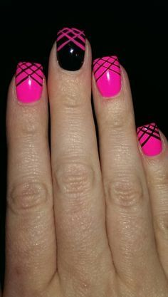 Black And Pink Nail, Hot Pink And Black Nail, Hot Pink Nail, Nail Designs, Pink And Black Nail Design, Art Design, Hair Nails