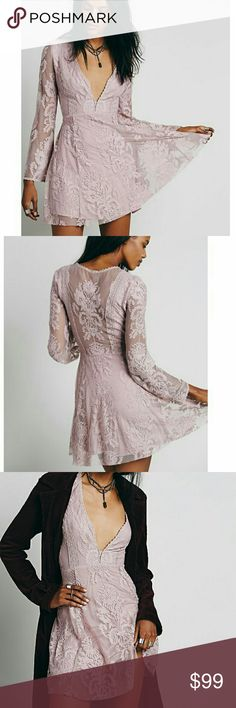 Free People Reign Over Me Pink Long Sleeve Dress 6 Beautiful Free People Reign Over Me lace dress in a pinkish purple color! This is the rare long sleeve version, this exact dress sold for almost $200 used on other selling platforms! 4th photo displays Taylor Swift wearing this dress! Excellent preowned condition, size 6! Free People Dresses Mini
