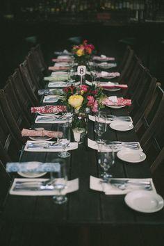 napkin wedding favors with family style seating http://www.weddingchicks.com/2013/11/18/inner-city-wedding/