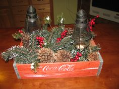 Coke Crate Christmas Centerpiece