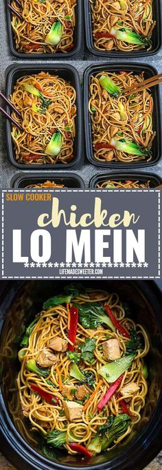 Crock pot Slow Cooker Chicken Lo Mein makes the perfect easy Asian-inspired weeknight meal and perfect for your weekly meal prep as lunch bowls for work or school. Best of all, takes only 15 minutes to put together with the most authentic flavors! So delicious and way better than any Chinese takeout! Leftovers make delicious school or work lunches or dinner the next day!