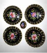 Antique french enamel champleve button roses guilloche steel studs bu ...