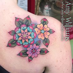 Cover-up from today at Cock A Snook #flowertattoo #leafhearts #cas #amybird #amybirdart #peanutbutter email cockasnook@hotmail.com to book in or message me on Facebook Amy Williams Tattoo www.amywilliamstattoo.com