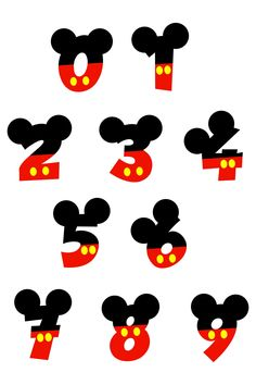Mickey Mouse Numbers with Ears and Mickey Hand, Birthday Disney Numbers, Baby, Kids, Toddler Birthday by MonomShop on Etsy Mickey Mouse Letters, Mickey Mouse Stickers, Mickey Mouse Crafts, Mickey Mouse Tattoos, Mickey Minnie Mouse, Minnie Mouse Birthday Decorations, Mickey Mouse Parties, Mickey Party, Mickey Mouse Birthday