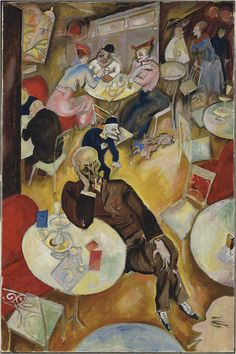 """Café"" by Georg Grosz (1893 – 1959) was a German artist known especially for his caricatural drawings of Berlin life in the 1920s"