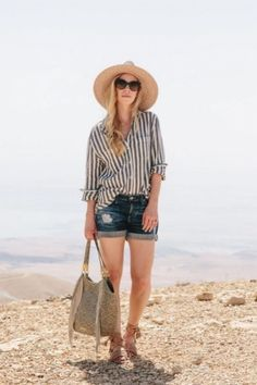 Shorts outfits to sport all summer long stylecaster. Summer Outfits Women Over 40, Modest Summer Outfits, Summer Outfit For Teen Girls, Summer Shorts Outfits, Shorts Outfits Women, Summer Fashion Outfits, Casual Outfits, Work Outfits, Outfits With Striped Shirts