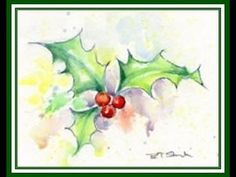 How to paint realistic holly leaves for your Christmas card in watercolour by Anna Mason - YouTube