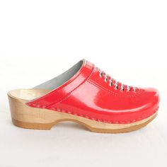 Sven clogs. so shiny red. $97 Front Weave Clog Red