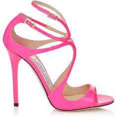 Jimmy Choo LANCE Raspberry Neon Patent Strappy Sandals