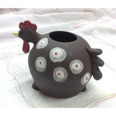 Poule Pot en Faïence noire