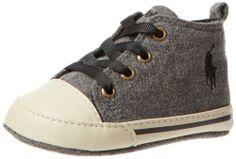 Ralph Lauren Layette Sag Harbour High Crib Shoe Grey Wool