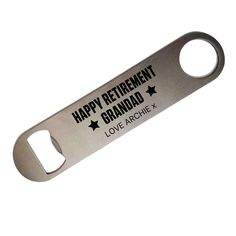 Stainless Steel Custom Bottle Opener - Personalised Bar Blade - Birthday / Anniversary / Retirement / Father's Day / Wedding / New Home Gift New Home Gifts, New Baby Gifts, Custom Bottles, Mail Center, Happy Retirement, Scratch Off, Wedding Day, Stainless Steel, Fathers Day