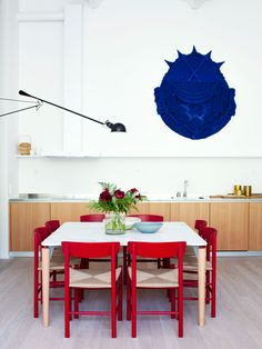 Oscar properties - Bryggeriet - Industriverket #oscarproperties kitchen, design, art, chairs, red chairs, interior, design, kitchen lamp