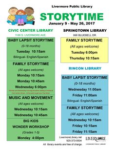 The Livermore Public Library will offer 14 storytime sessions each week this winter and spring.  The storytimes will involve singing, dancing, reading, and listening to encourage early literacy.  Storytimes run from January 9 to May 26, 2017.  Library storytimes are free of charge.